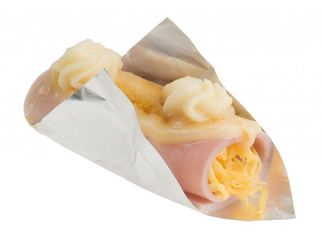 Rotllo pernil dolç i ou filat